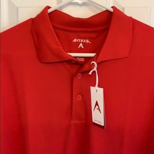 Red golf short sleeve polo shirt
